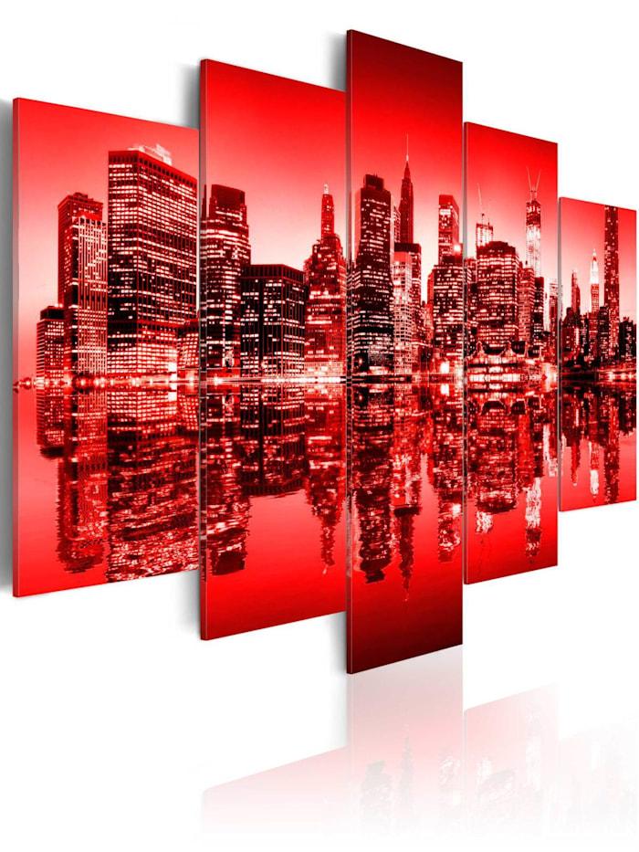 artgeist Wandbild Rotes Licht über New York - 5 Teile, Rot