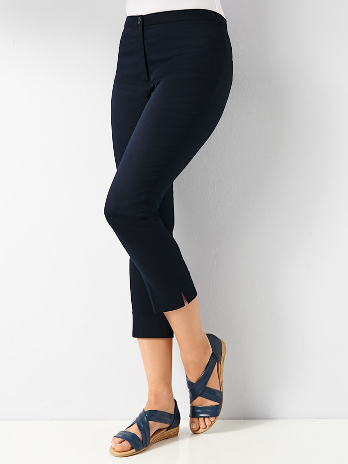 Cropped trousers in stretch cotton sateen