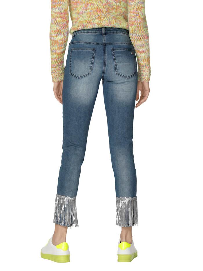 Jeans mit Pailletten am Saum