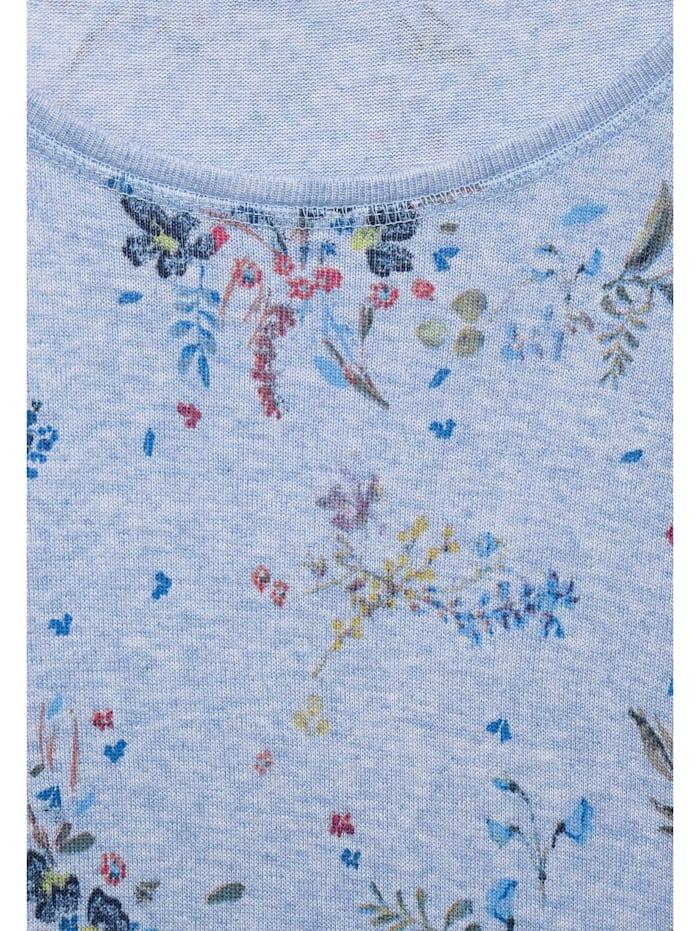 Melange-Shirt mit Blumen