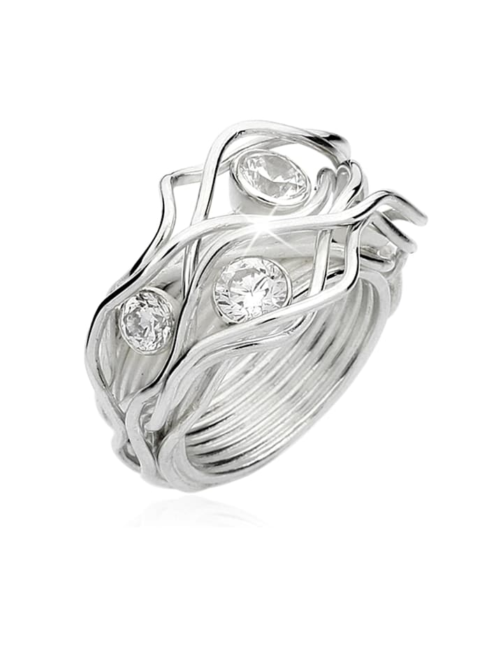 Nenalina Ring Verknotet Gewoben Zirkonia Kristalle 925 Silber, Silber