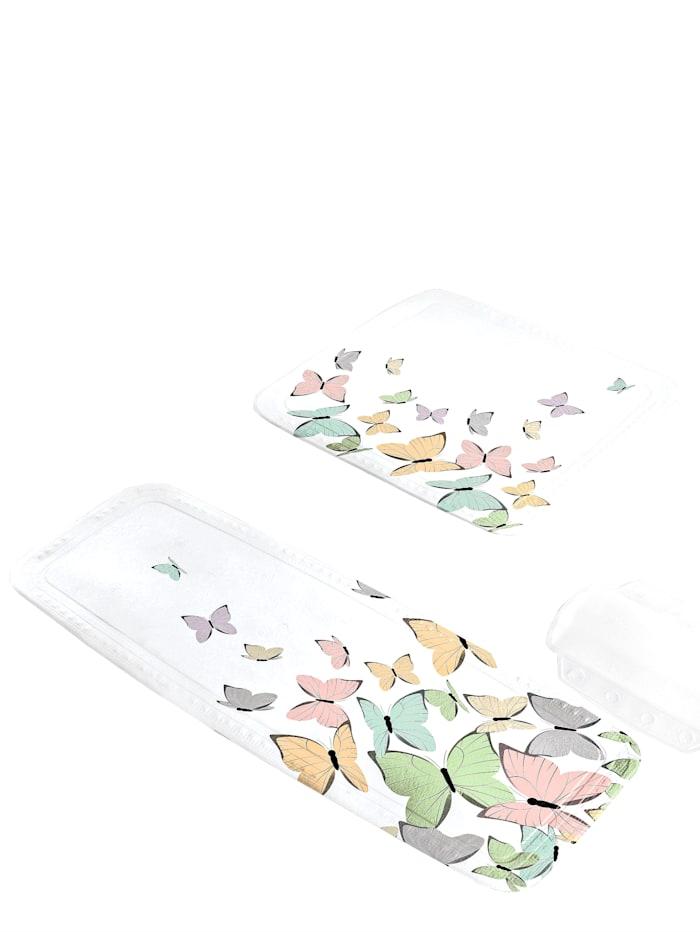 Kleine Wolke Badekarmatte med sommerfuglmotiv, flerfarget