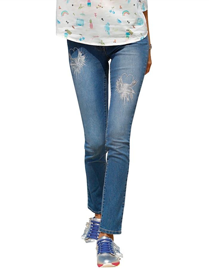 Jeans mit Stickerei- und Strassdekoration