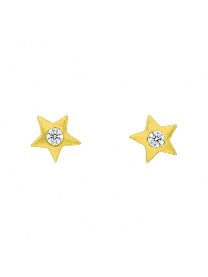 1001 Diamonds Damen Goldschmuck 585 Gold Ohrringe / Ohrstecker Stern mit Zirkonia, gold