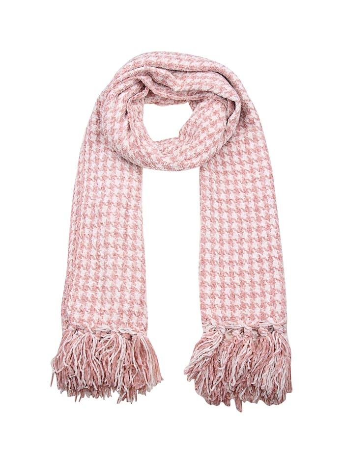 Leslii Schal mit modischem Hahnentritt-Muster, rosa-weiß