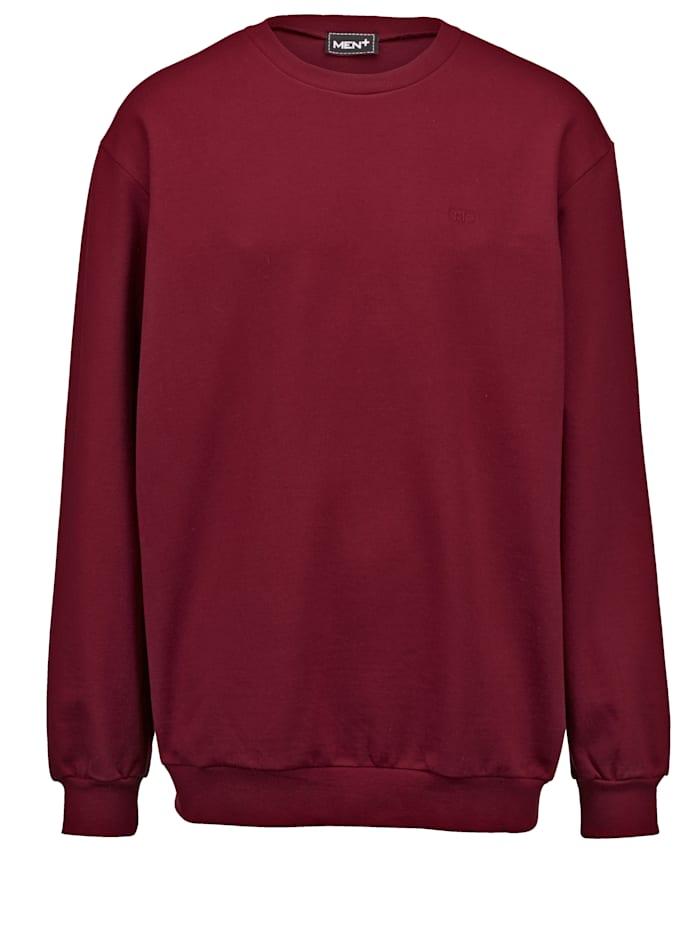 Men Plus Sweatshirt av bomull, Bordeaux