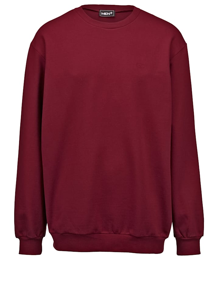 Men Plus Sweatshirt aus reiner Baumwolle, Bordeaux