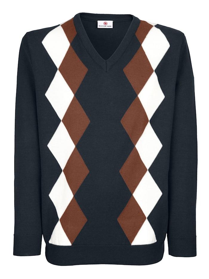 Pullover mit Rhombenmuster im Vorderteil