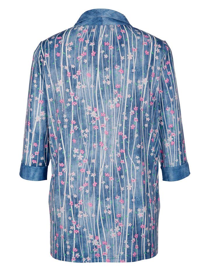 Shirtjacke mit Blumen- und Streifenmuster