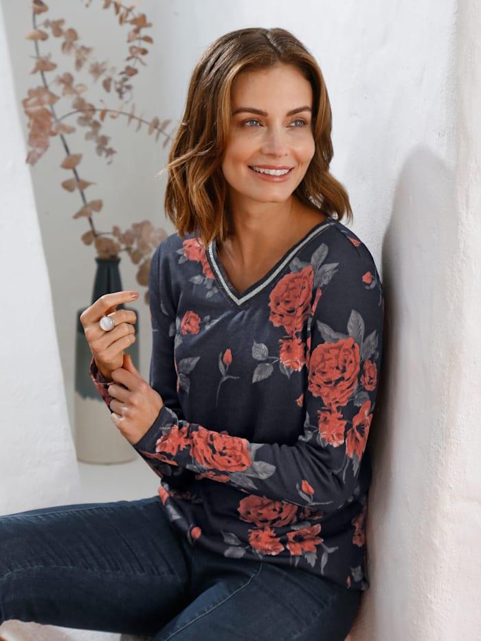 Paola Shirt im floralen Dessin, Marineblau