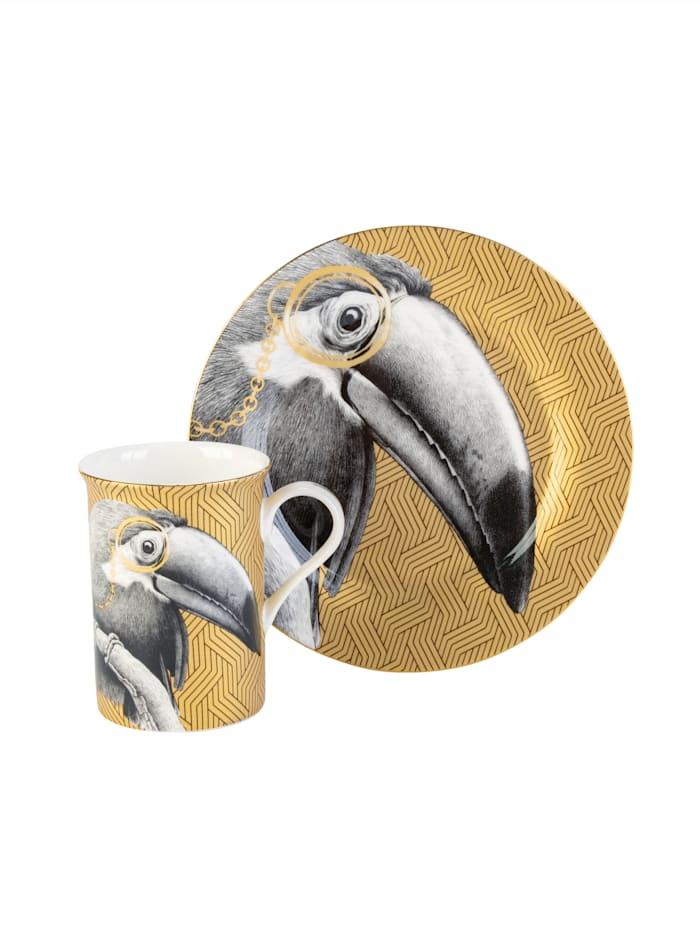 AM Design Geschirr-Set, 2-tlg., Tucan, gold/schwarz/weiß