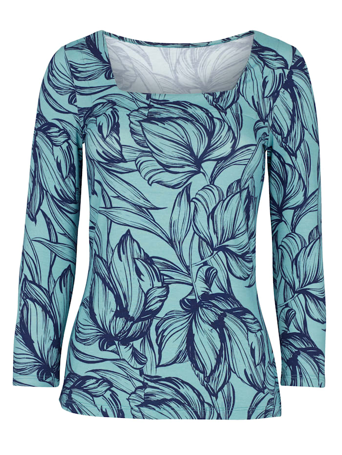 Printed Square Neck Jersey Top with an all over leaf print
