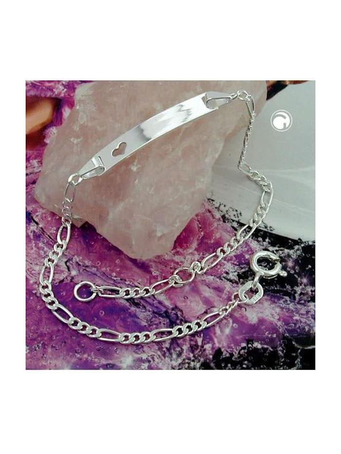 Gallay Schmuckgroßhandel Schildarmband für Kinder 2,3mm Figarokette Gravurplatte 25x5mm mit Herz Silber 925 16cm, silber