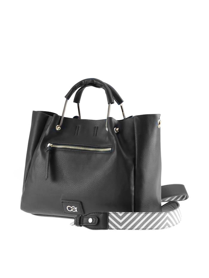 Handtasche Zack mit modischen Zick-Zack Trageriemen zwei mit Ledernachbildung überzogenen Metalltragegriffen