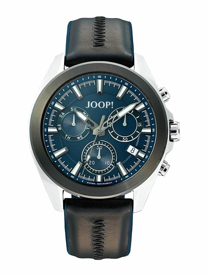 JOOP! Chronograph für Herren, Edelstahl und Leder, Schwarz