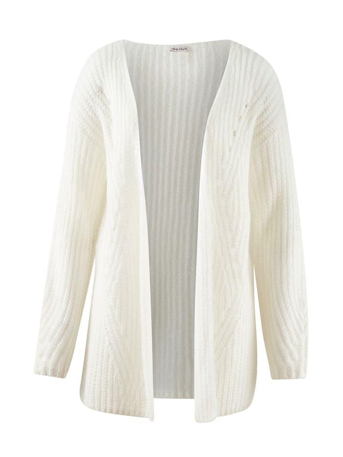 Alba Moda Strickjacke in luftigem Grobstrick, Creme-Weiß