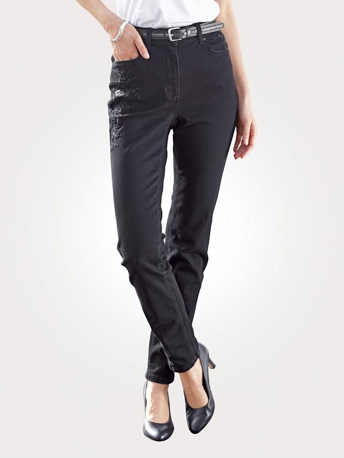 MONA Jeans mit toniger Blüten-Stickerei, Schwarz