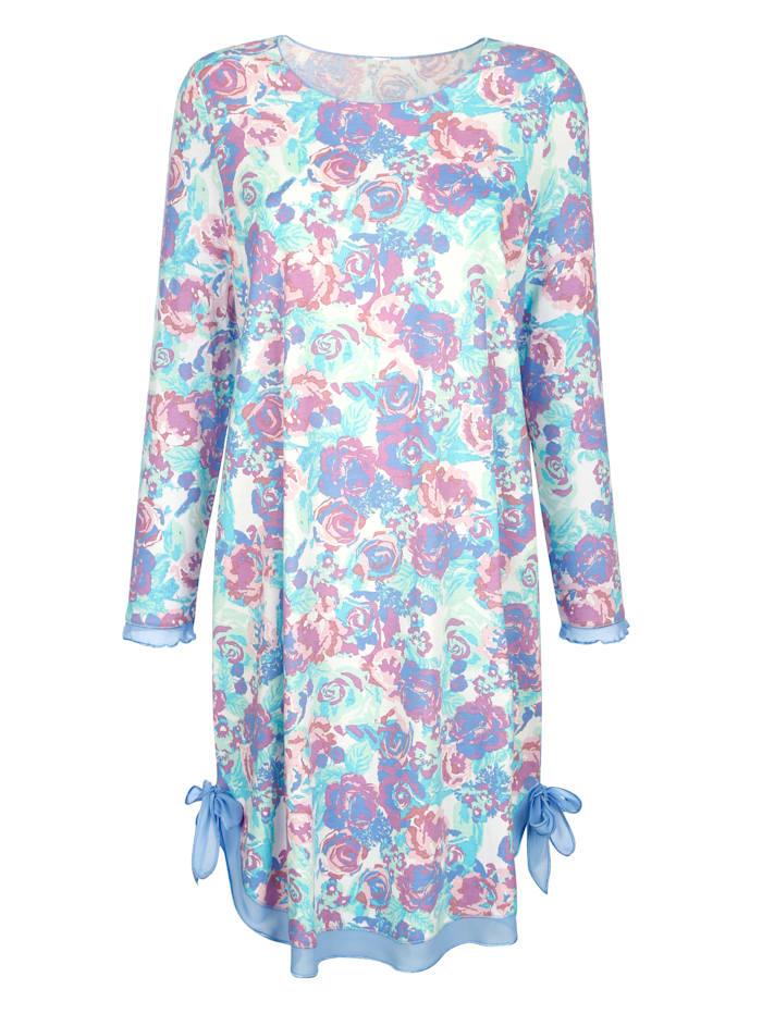 Simone Nachthemd met speelse zoom, Blauw/Ecru/Groen