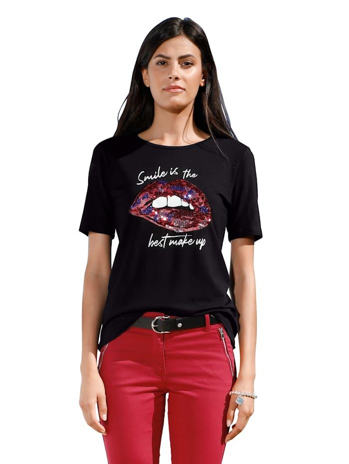 AMY VERMONT Shirt mit Druck, Schwarz/Weiß/Rot