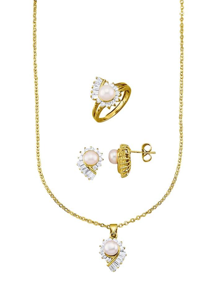 Golden Style Parure de bijoux 4 pièces avec perles de culture d'eau douce, Coloris or jaune