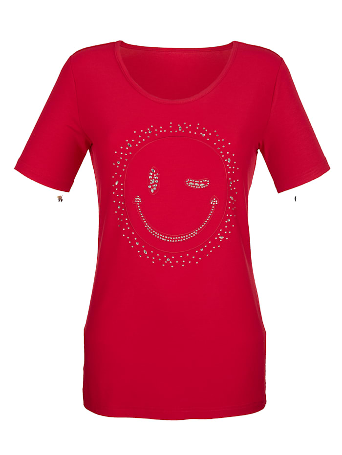 Shirt mit zwinkerndem Smiley, Rot