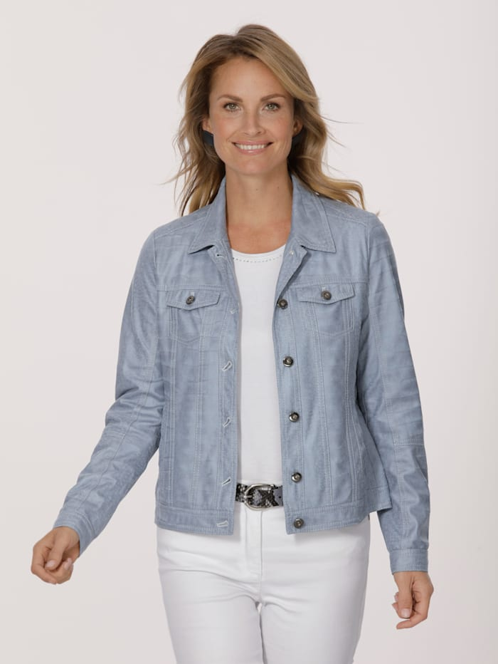 MONA Faux leather blazer in an embossed finish, Ice Blue