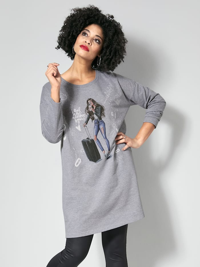 Angel of Style Sweatshirt met trendy print, Grijs