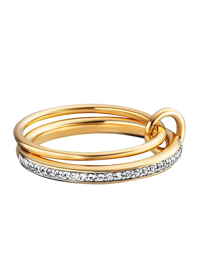 CAI Ring 925/- Sterling Silber Topas weiß RHO+VGO 0,004ct/pc. 925/- Sterling Silber, gelb
