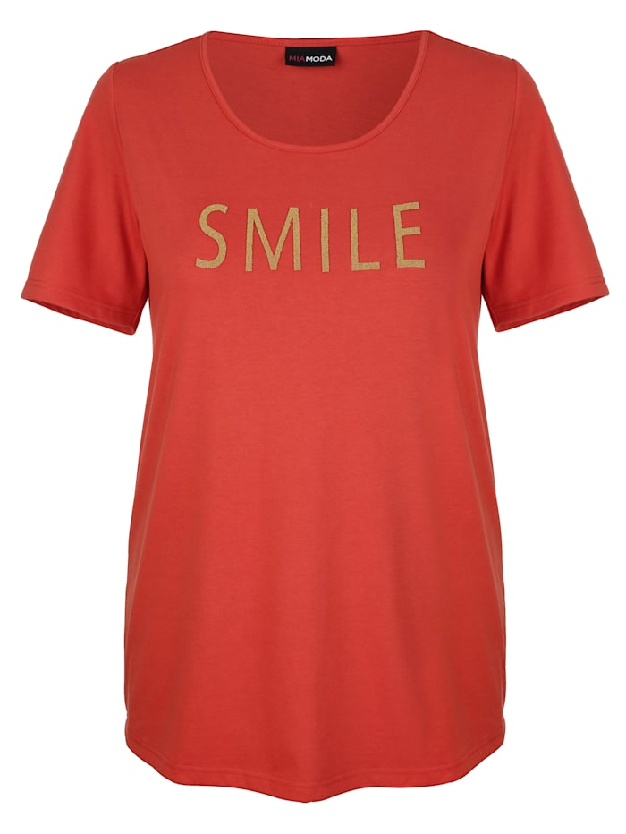 MIAMODA Shirt mit Schriftzug, Terracotta