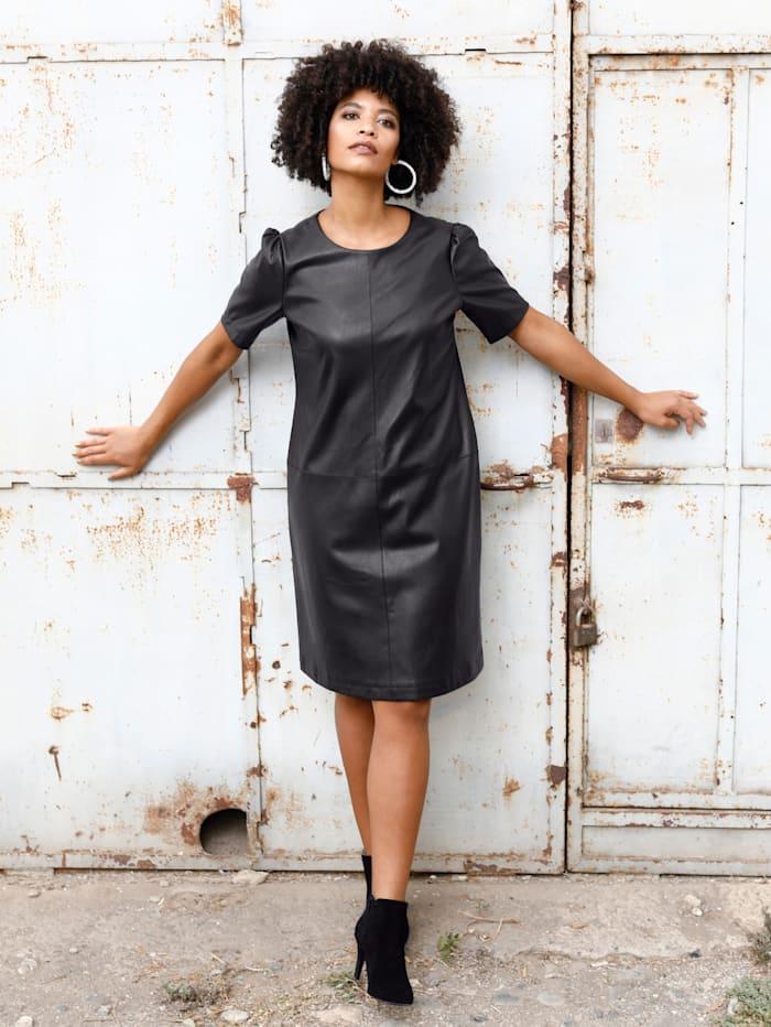 Angel of Style Kleid in Leder-Optik, Schwarz