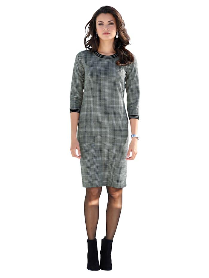 Jerseykleid mit Glencheckmuster und Strickbündchen