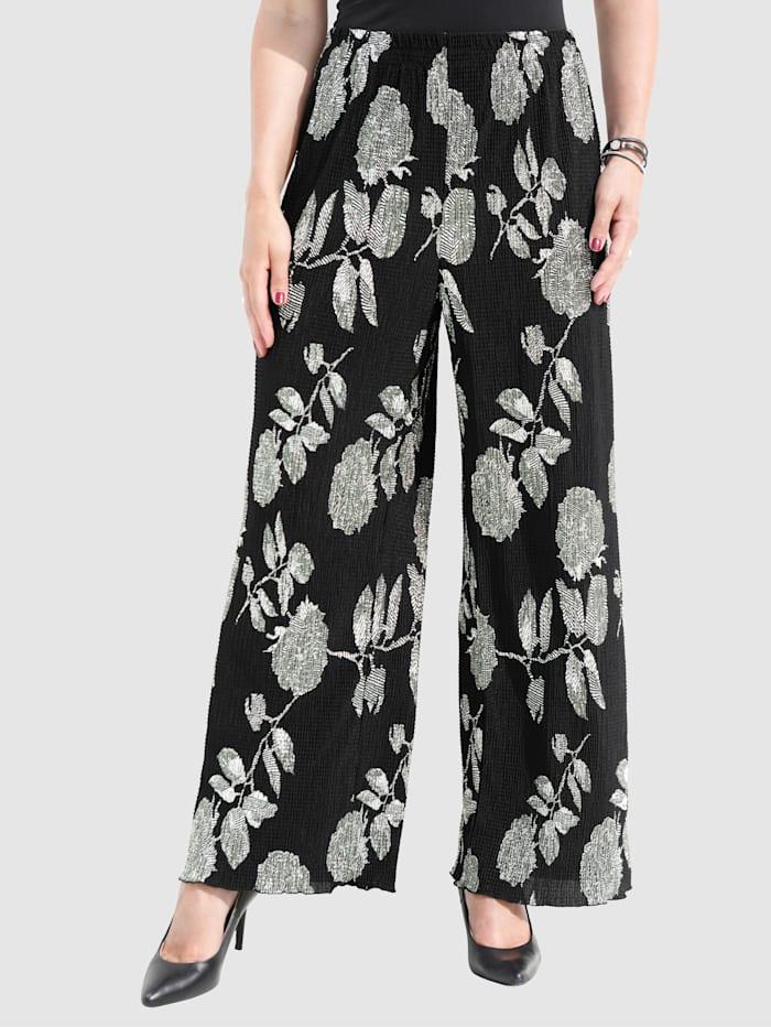 Pantalon plissé à imprimé sérigraphié floral