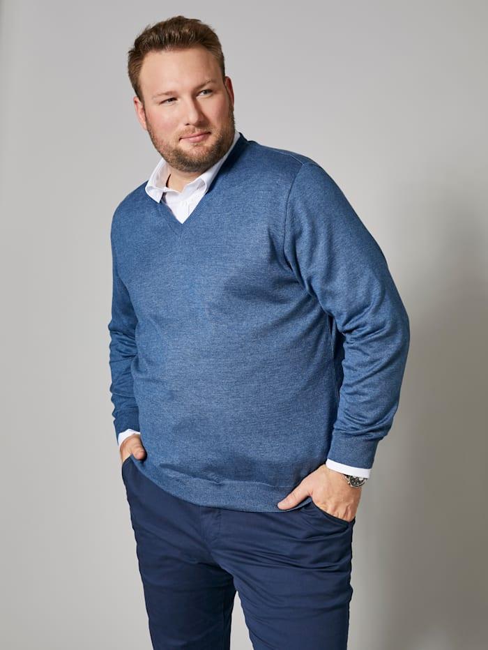 Men Plus V-Pullover aus pflegeleichter Baumwoll-Mischung, Blau