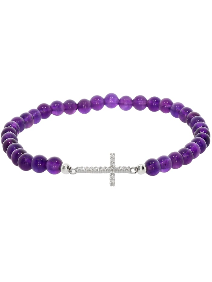 1001 Diamonds Kreuz Amethyst Armband 925 Silber 17 cm, violett