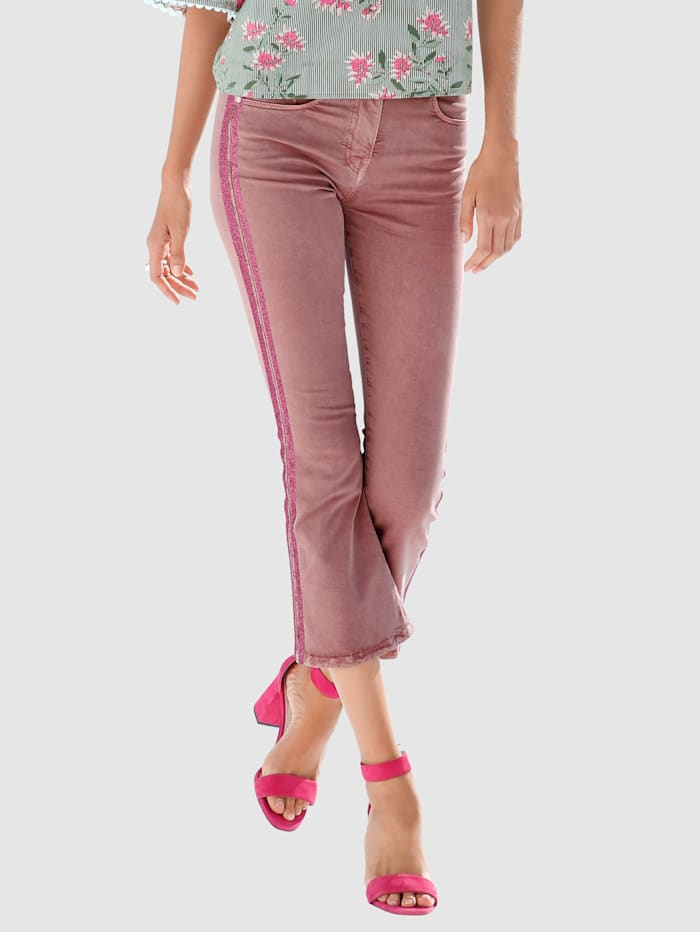 AMY VERMONT Piratjeans med galonstriper, Rosa