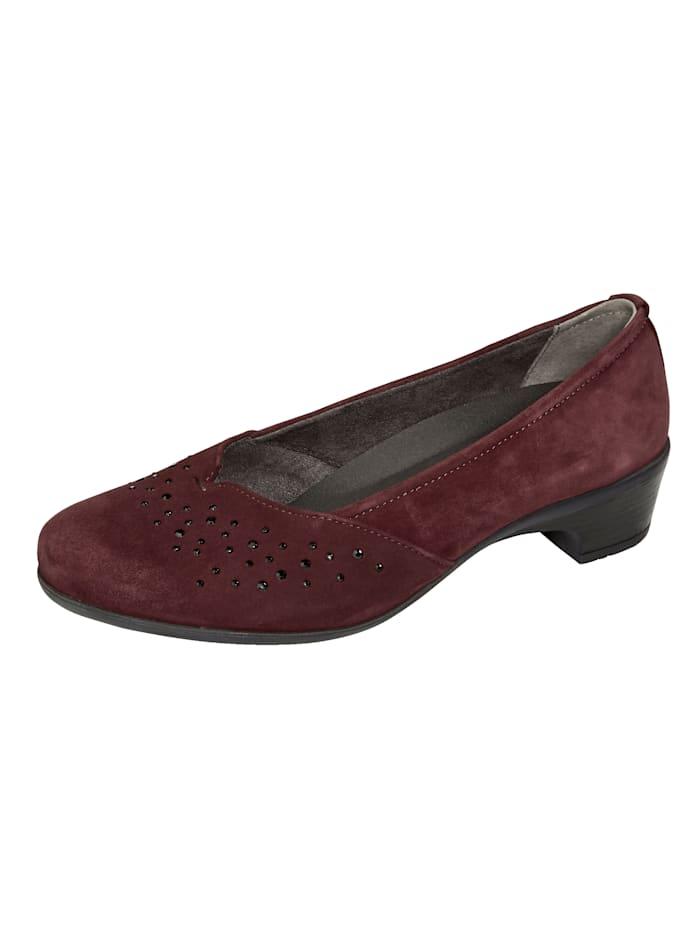 Naturläufer Court shoes with subtle rhinestones, Bordeaux