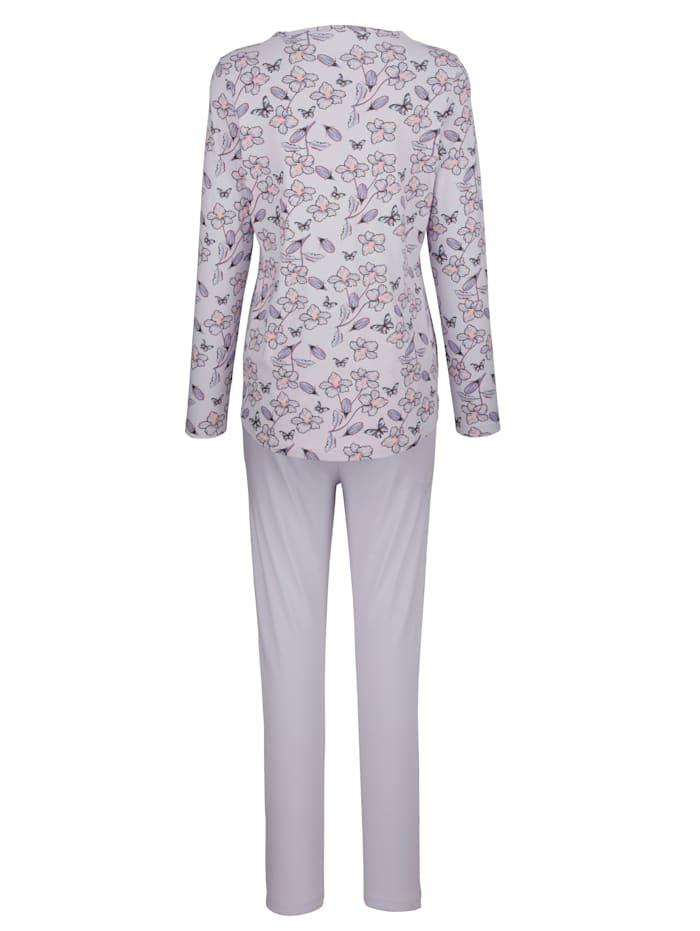 Schlafanzug mit floralem Einsatz an der Hose