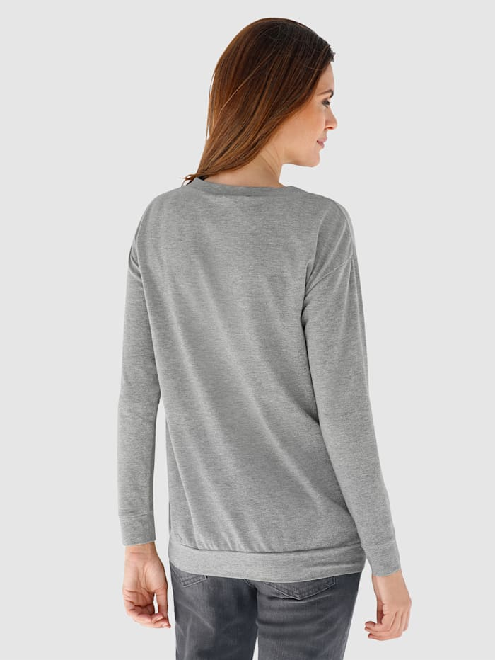 Shirt met zilverkleurig garen