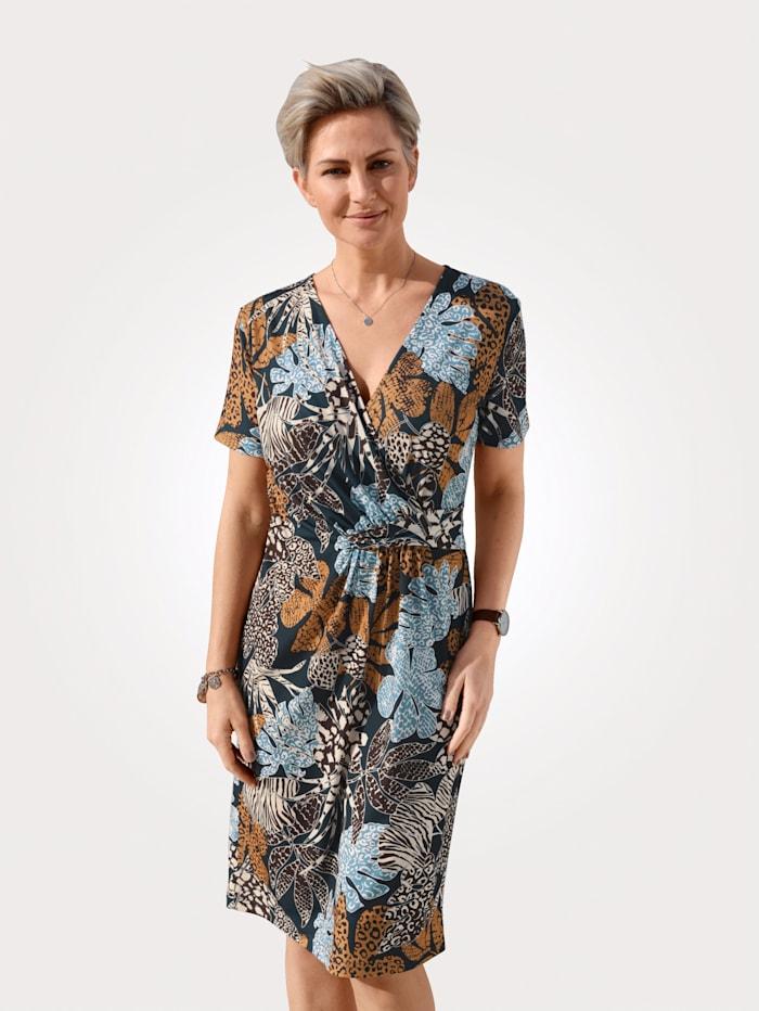MONA Jerseykleid aus fließender Slinky- Ware, Marineblau/Cognac/Hellblau