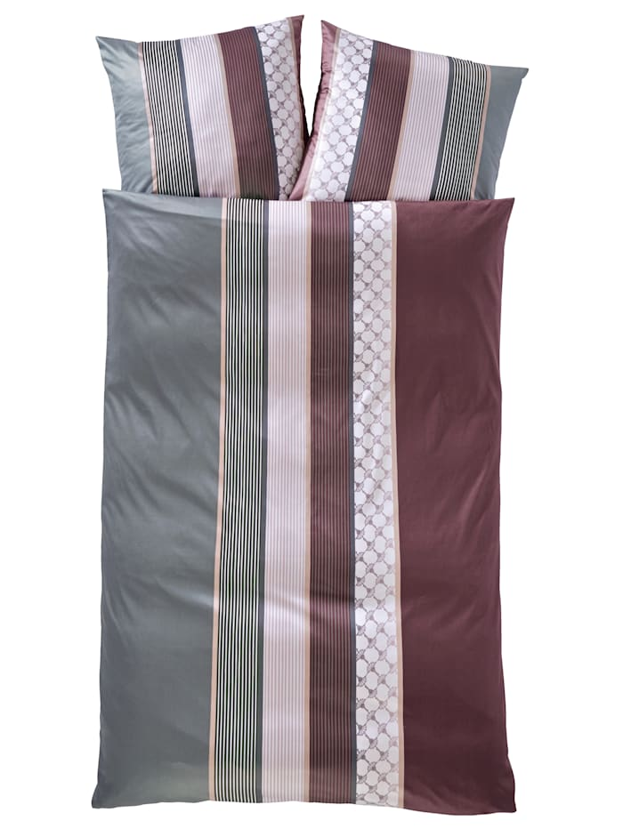 JOOP! Mako Satin Bettwäsche 'Cornflower Stripes', wine