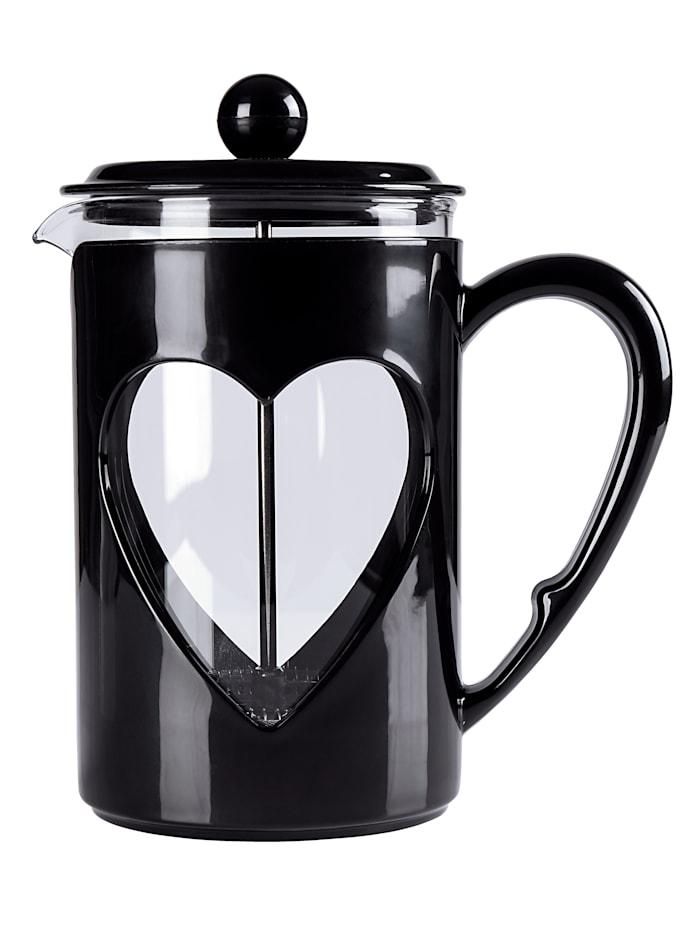 Kaffee- & Teebereiter 'Herz', 0,8 Liter, Schwarz
