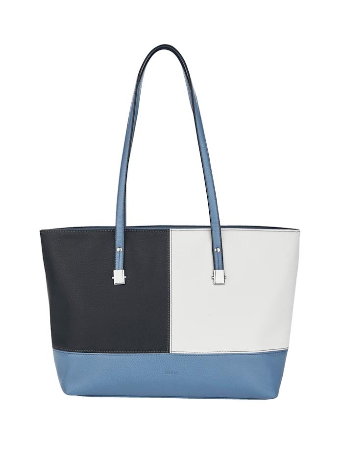 Sina Jo Shopper in een chique kleurencombinatie, Blauw/Wit