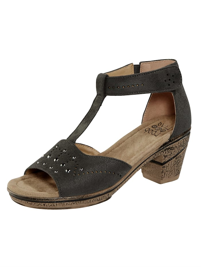 Liva Loop Sandale mit Klettriegel an der Fessel, Grau