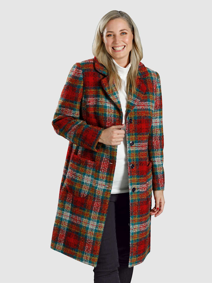 MIAMODA Kabát z pestrého károvaného vzoru, Multicolor
