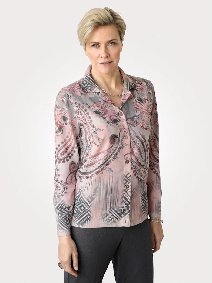 DiStrick Pull-over en laine douce mélangée, Rose/Gris
