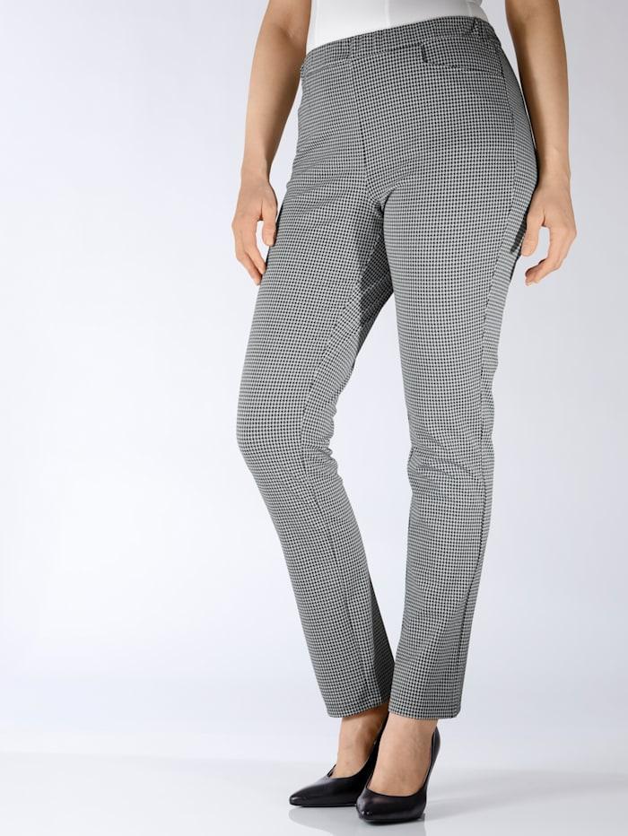 m. collection Kalhoty s 2-barevným pepita vzorem, Černá/Bílá