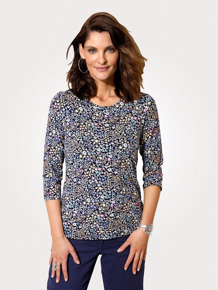 MONA T-shirt à imprimé millefleurs, Marine/Jaune/Rose