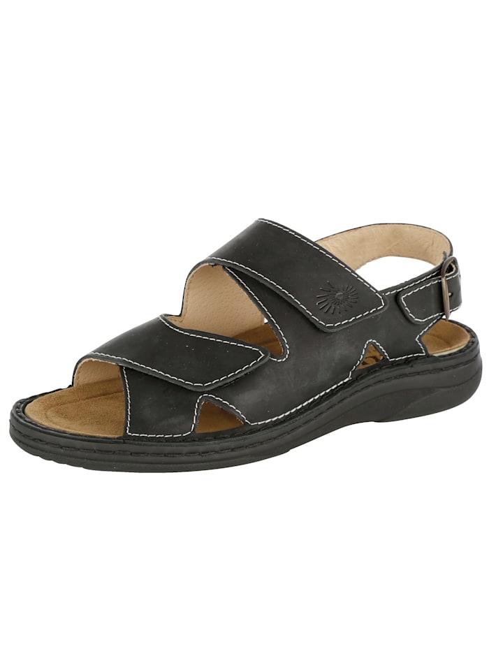 Sandale mit auswechselbarem Lederfußbett, Schwarz
