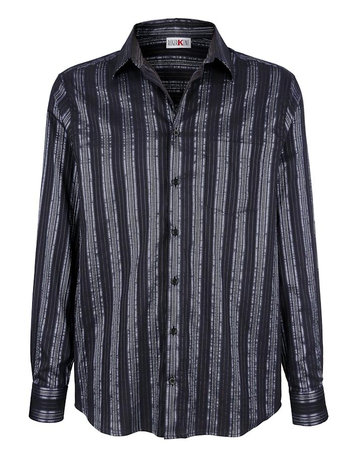 Roger Kent Overhemd met glansstrepen, Zwart/Blauw
