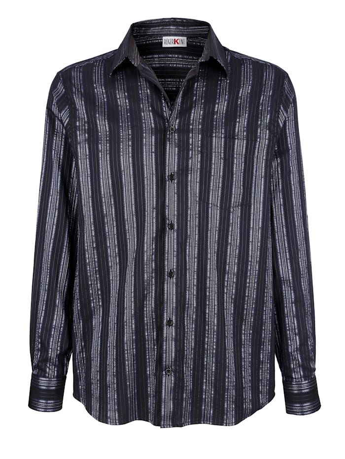 Roger Kent Skjorta med glansiga ränder, Svart/Blå